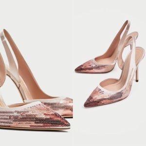 NWT ZARA Pink Rose Sequin Slingback Satin Heels